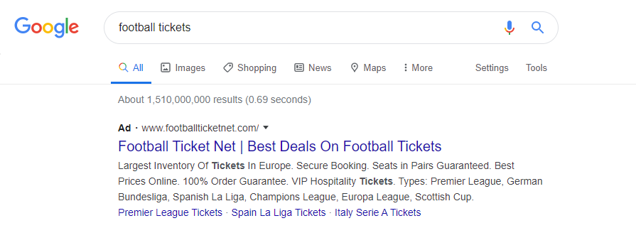 An example of an ad in Google search results