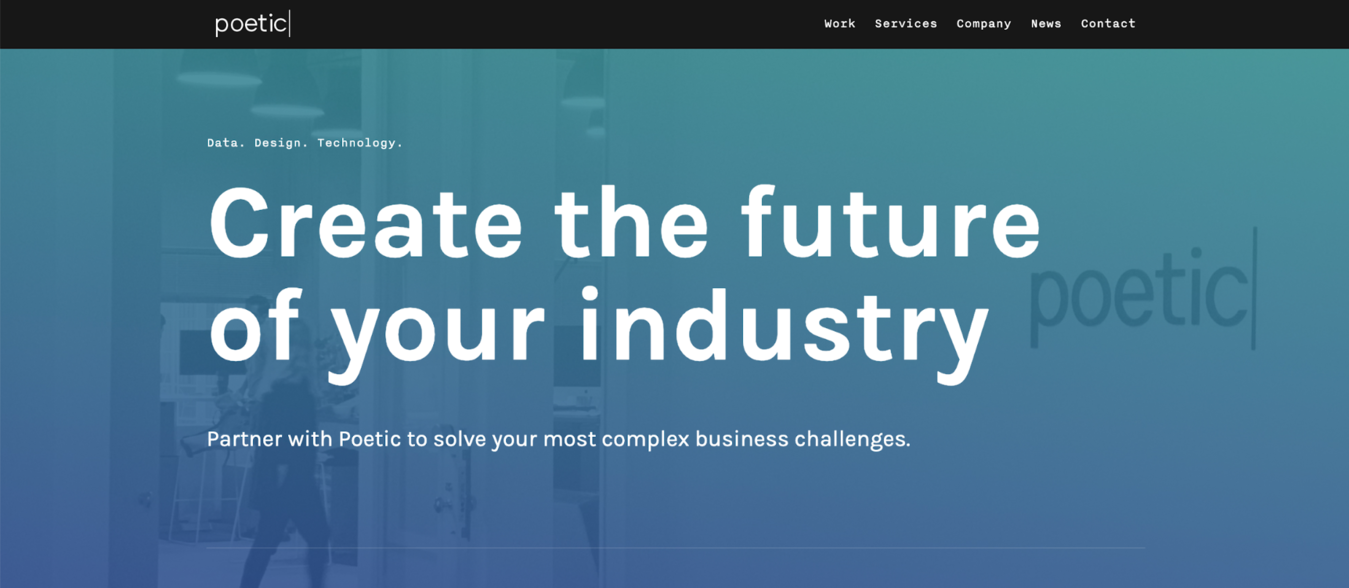 """Poetic website with words in white saying, """"Create the future of your industry"""""""