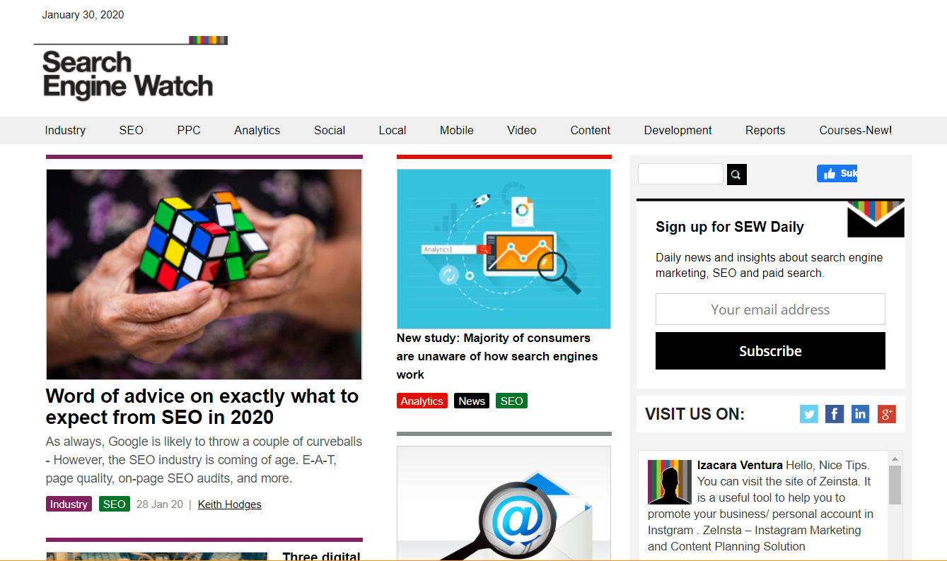 Search Engine Watch SEO blog front page.