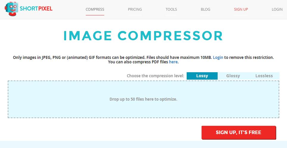 The homepage of ShortPixel image compressor website.