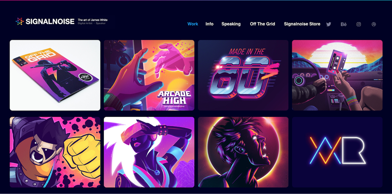 example of bright and neon colors for a portfolio website