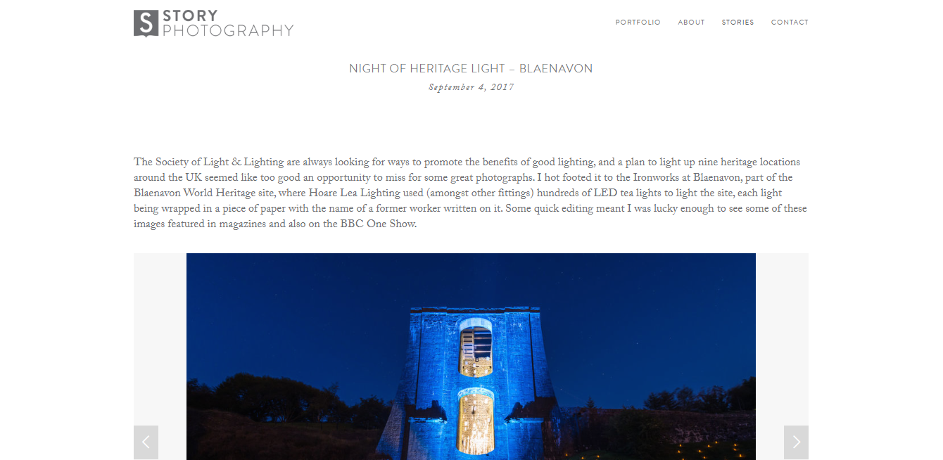 The homepage of Story Photography