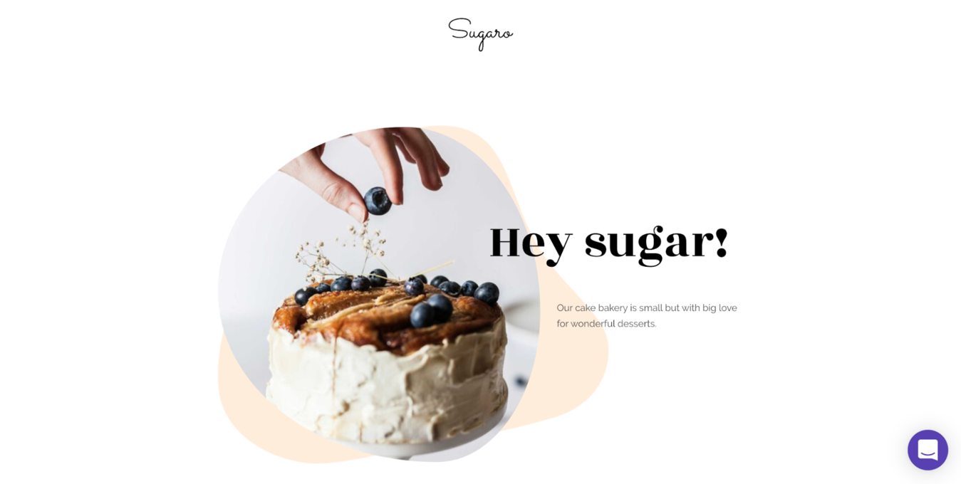 Hey sugar! Website with blueberries being topped onto a cake