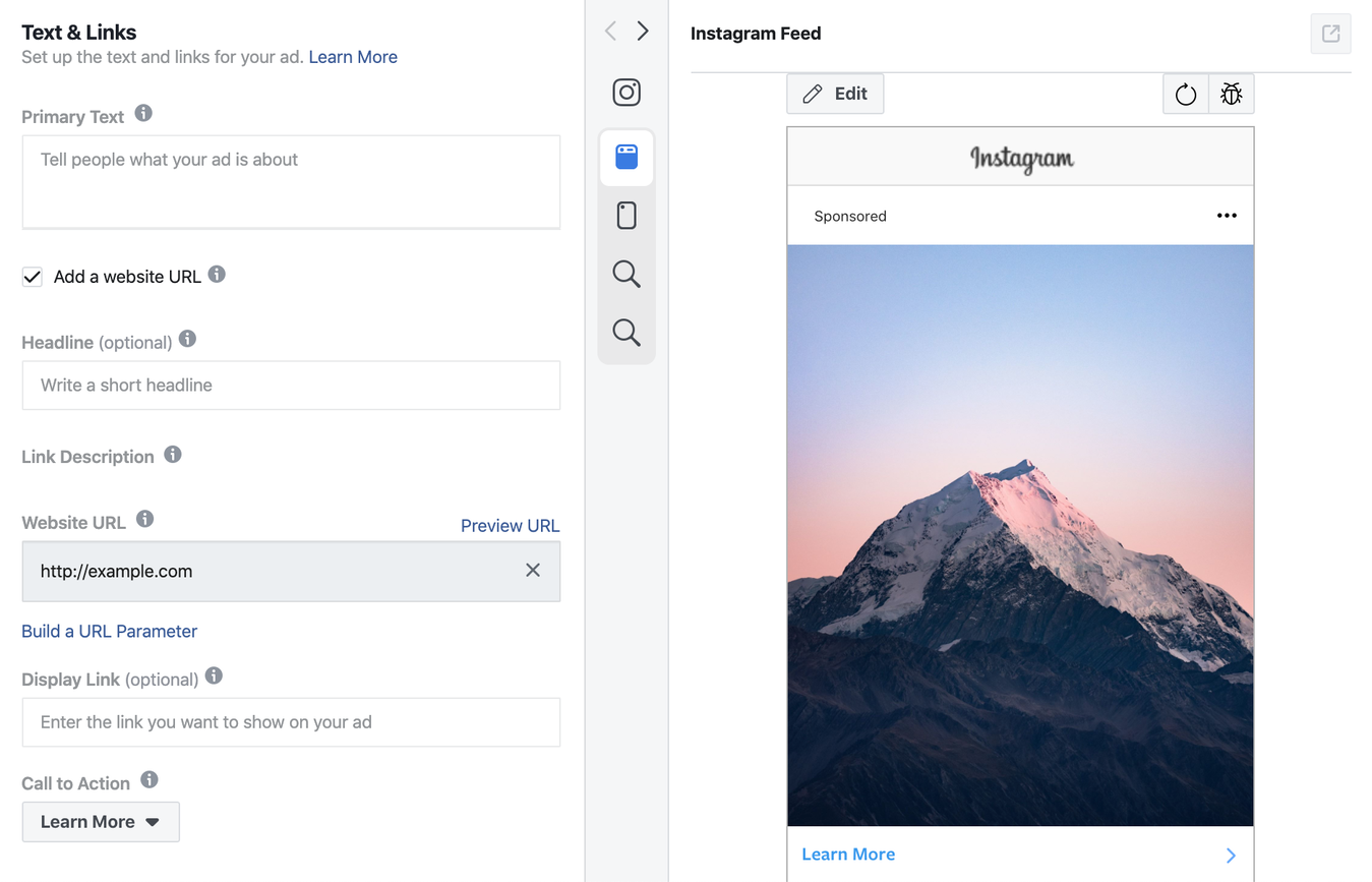 Previewing Text and Links for Instagram Ads