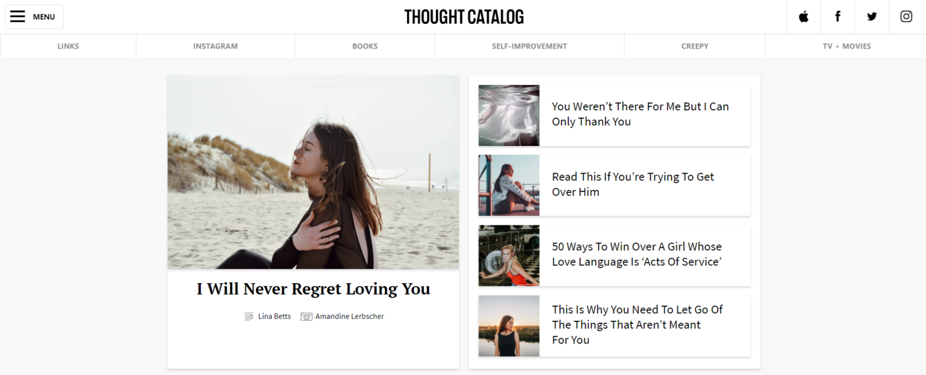 Thought Catalog blog example with photo of girl sitting on the beach
