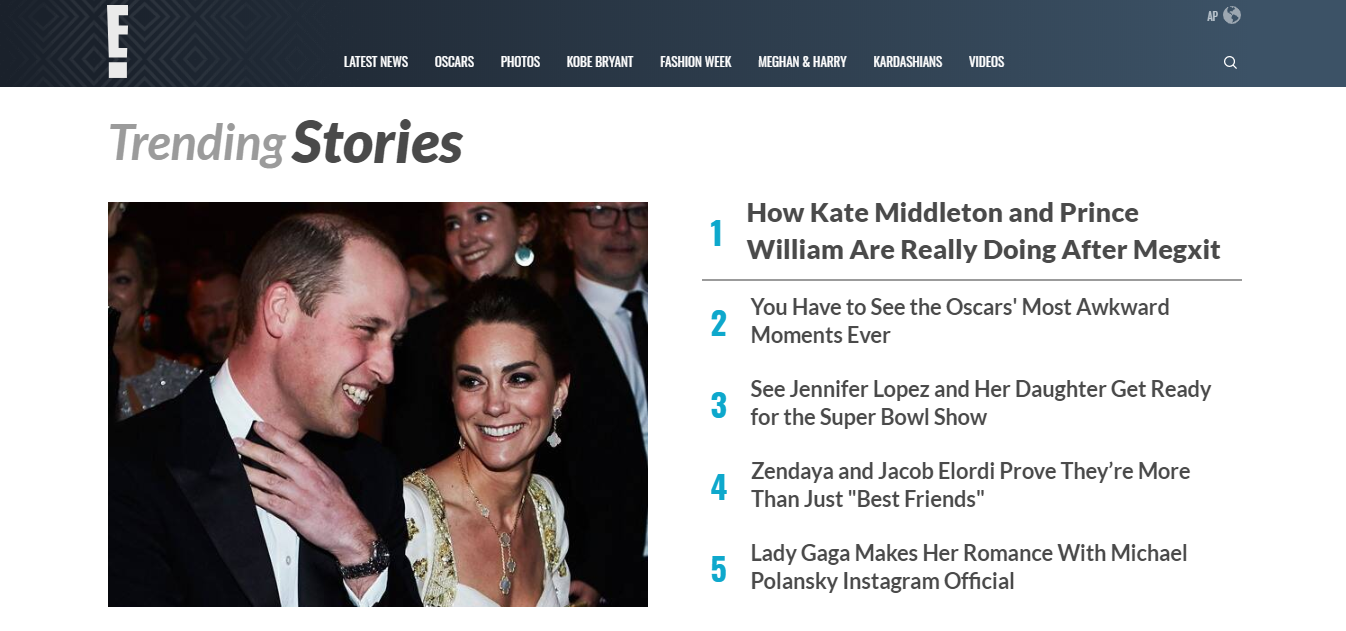example of an entertainment website that shows current stories