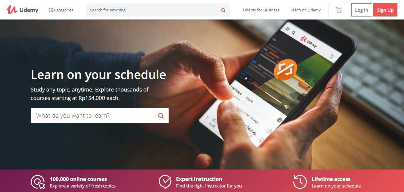 educational website, Udemy, login page