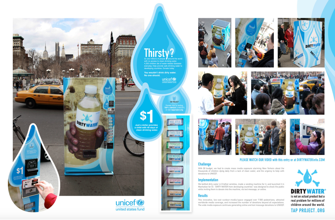 unicef marketing campaign about clean drinking water