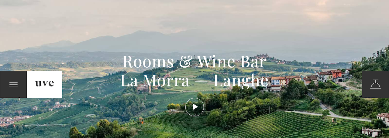 """UVE small business website examples showing vineyards and words saying, """"Rooms & Wine Bar La Morra - Langhe"""""""