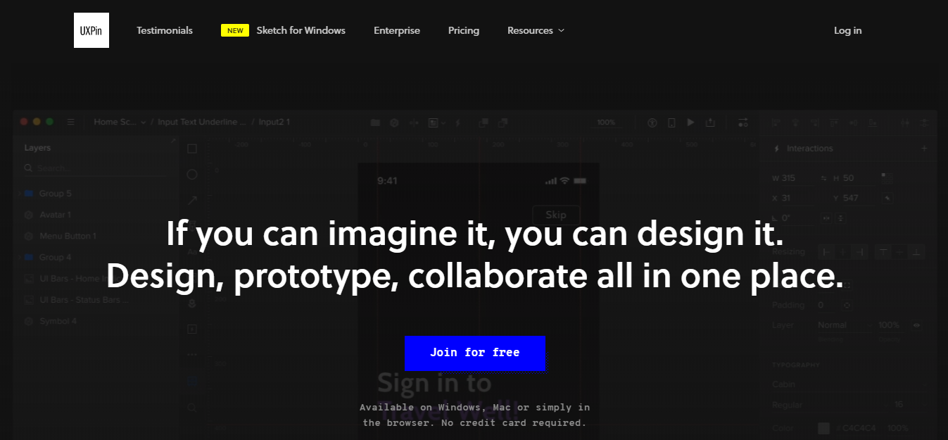 UXPin homepage