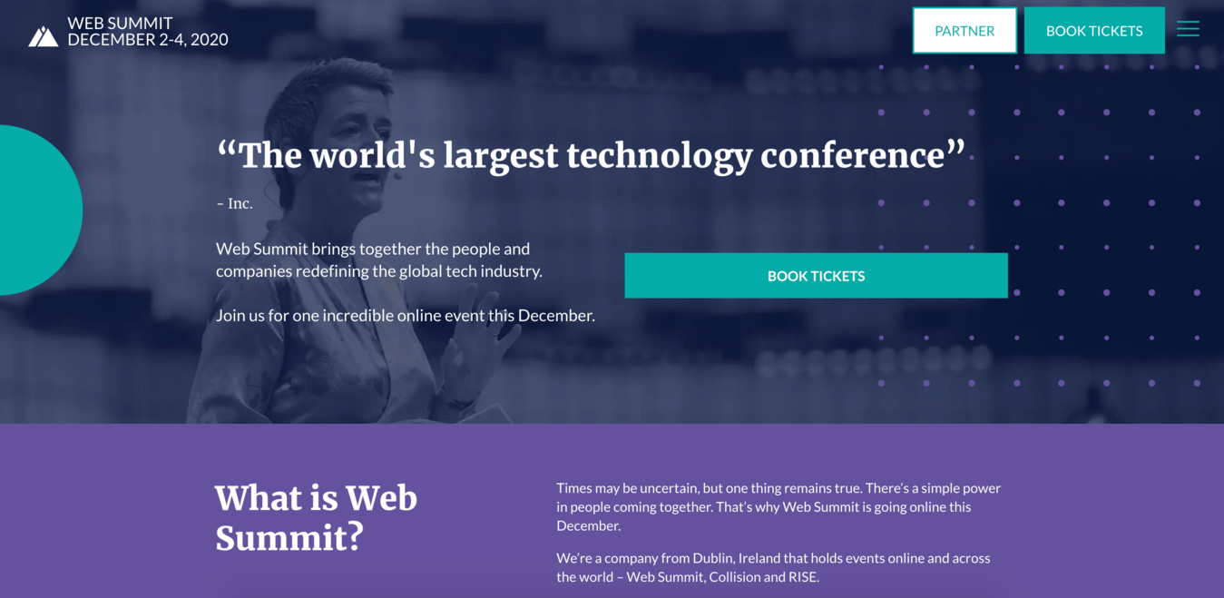 Captura de pantalla del sitio web de eventos Web Summit