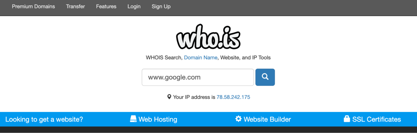whois search page