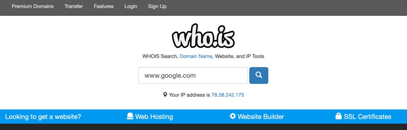 Page de recherche de who.is