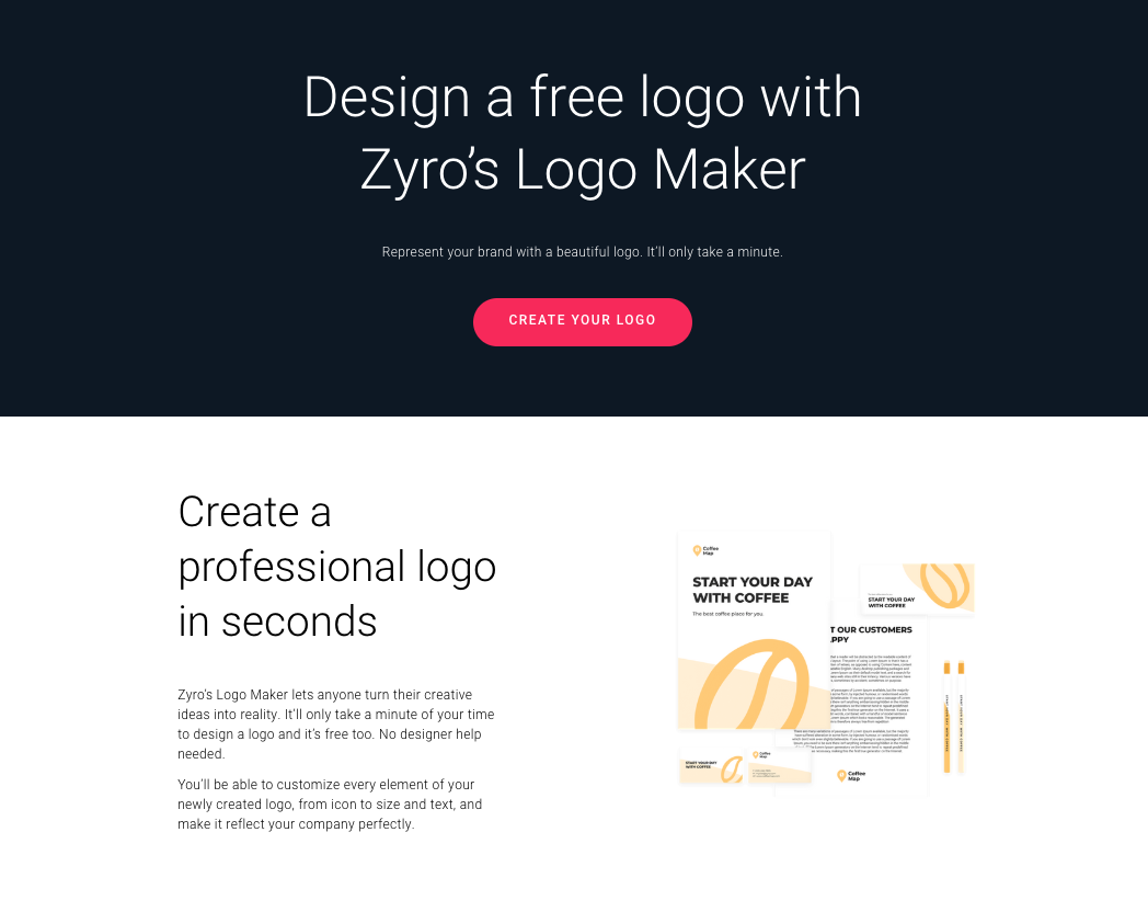 Zyro's logo maker