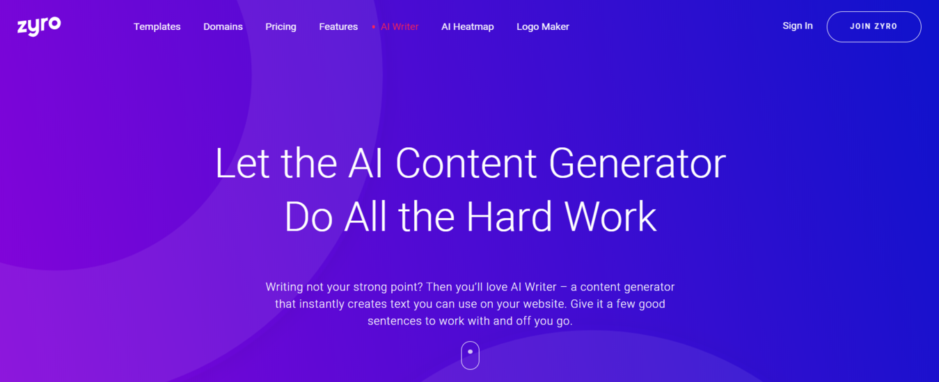 zyro's AI content generator page to help write content