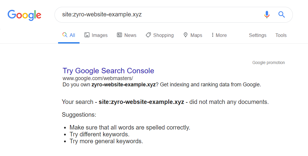 blank search result page