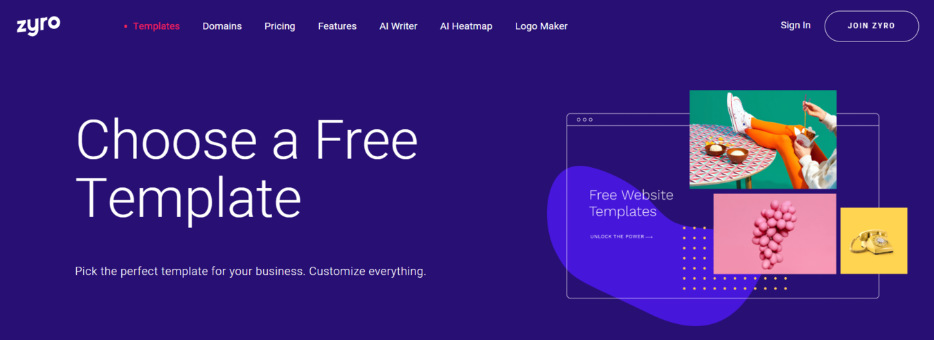 Landing page for Zyro's free template