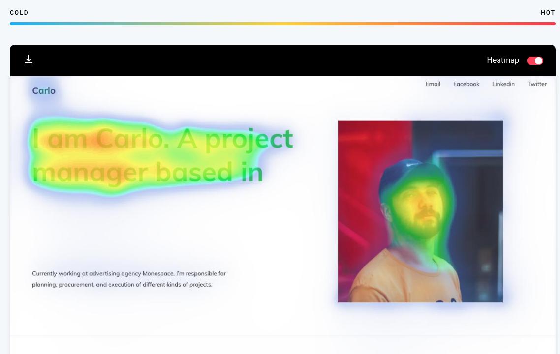 Zyro Heatmap Tool đang hoạt động. Nó cho thấy những phần nào trong danh mục đầu tư trực tuyến của bạn sẽ thu hút nhiều sự chú ý nhất.