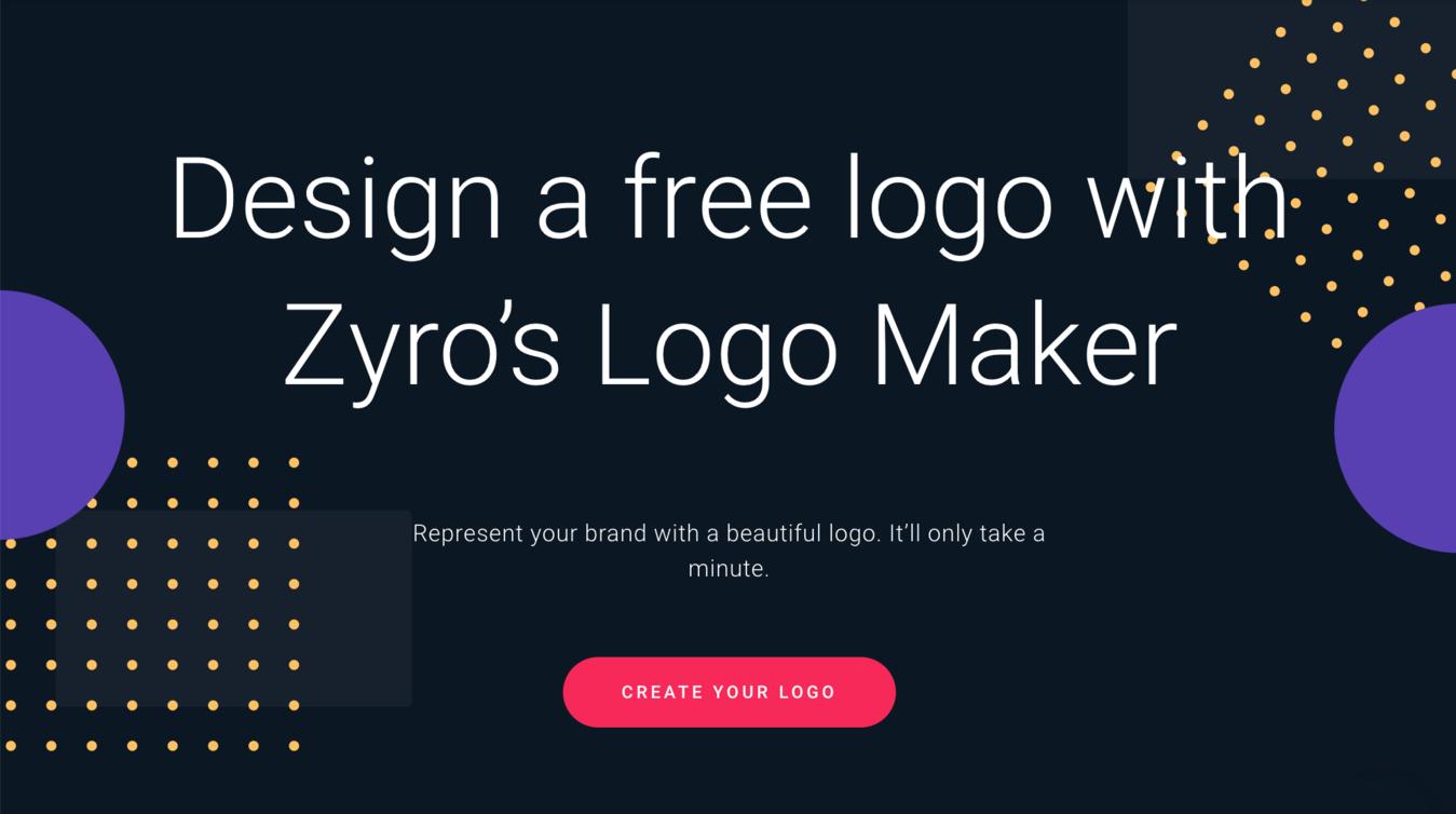 zyro landing page to make a free logo