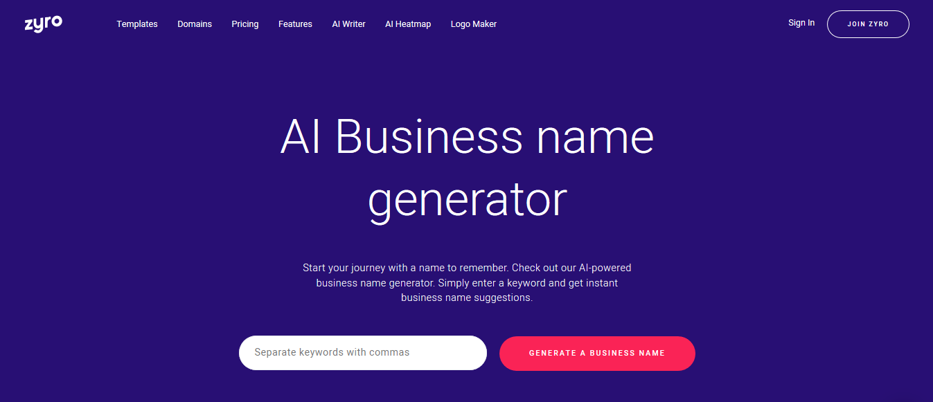Using Zyro name generator to find business name ideas.