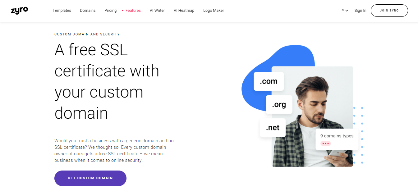 Free SSL certificate with Zyro