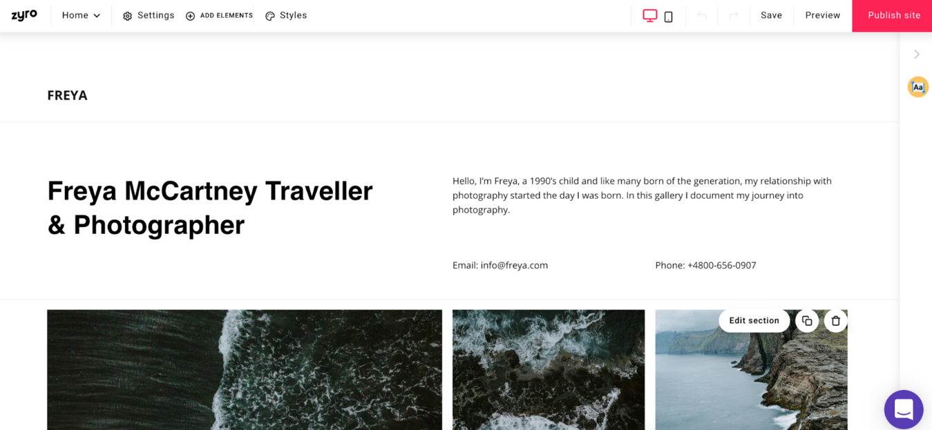 Zyro's photography template