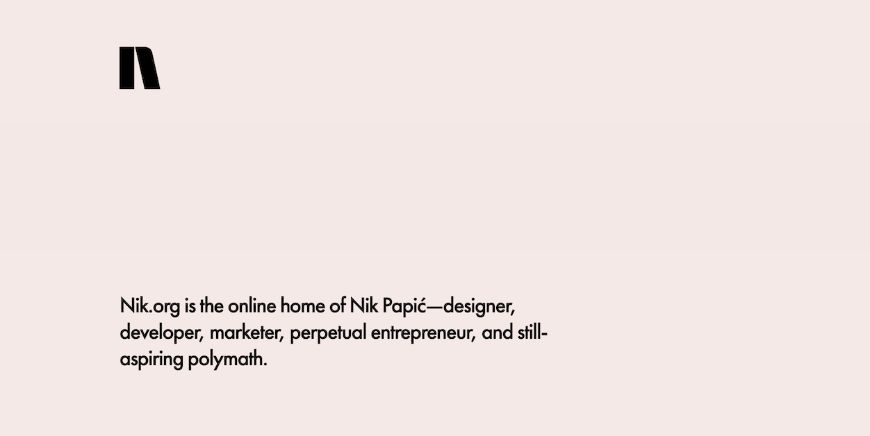 Screenshot from Nik Papic resume website