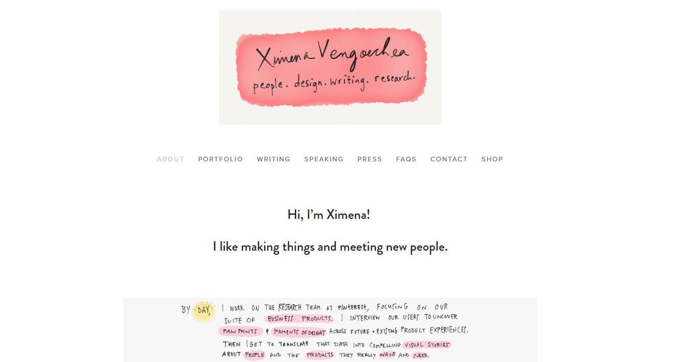 Screenshot from Ximena Vengoechea resume website