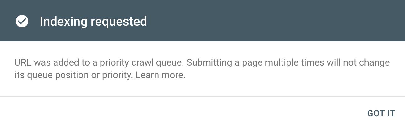 Google Search Console priority crawl request