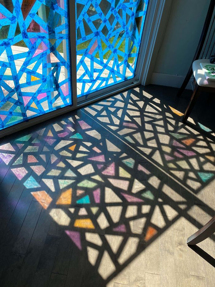 Stained glass window made with tape and markers