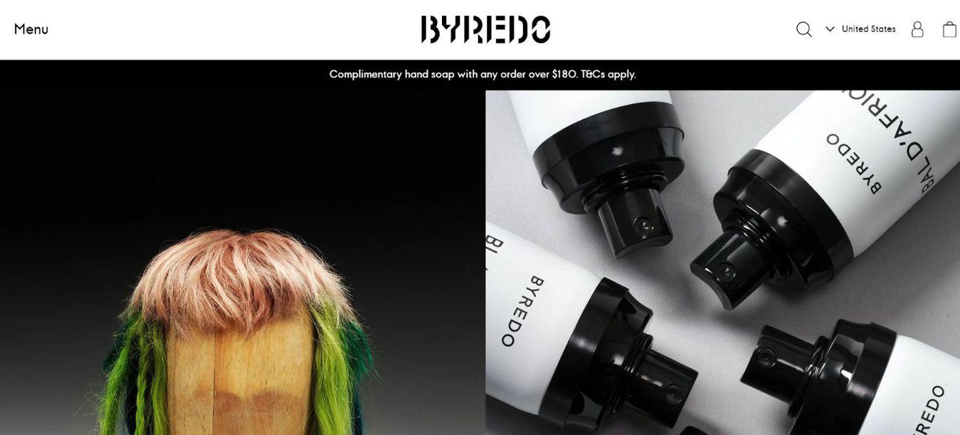 Byredo landing page