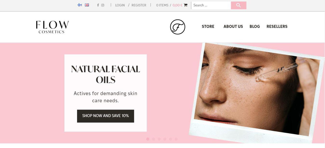 Flow Cosmetics landing page