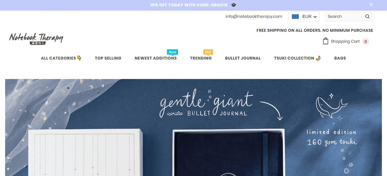 Notebook Therapy landing page