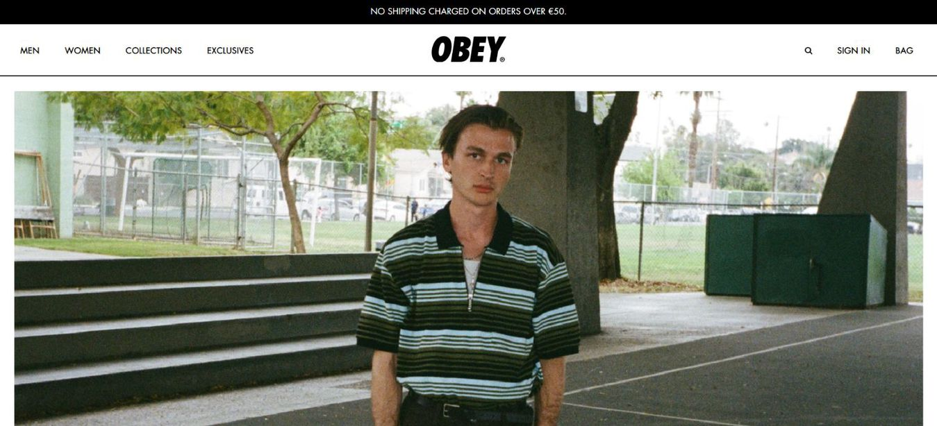 Obey landing page