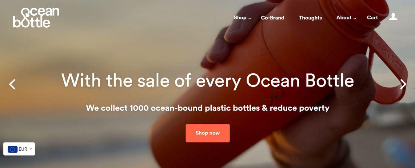 Ocean Bottle landing page