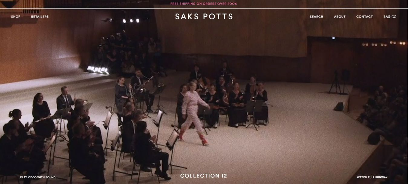Saks Potts landing page