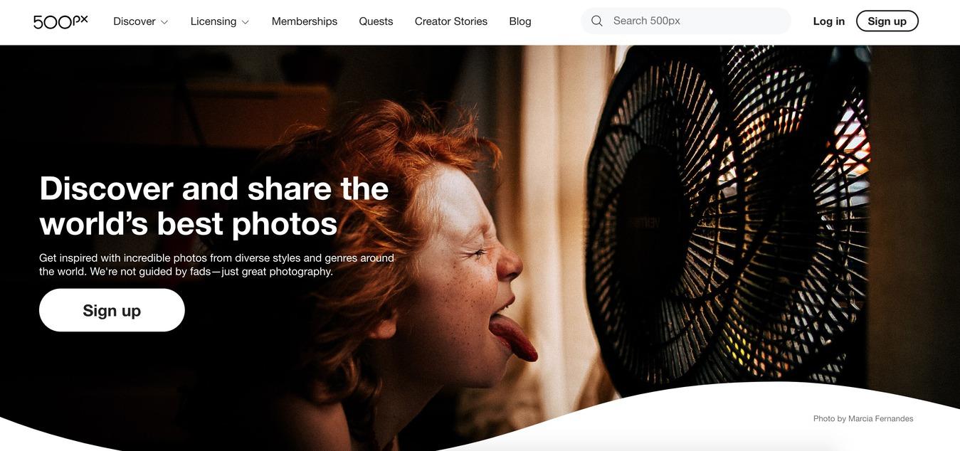 500px stock fotografie platform desktop held