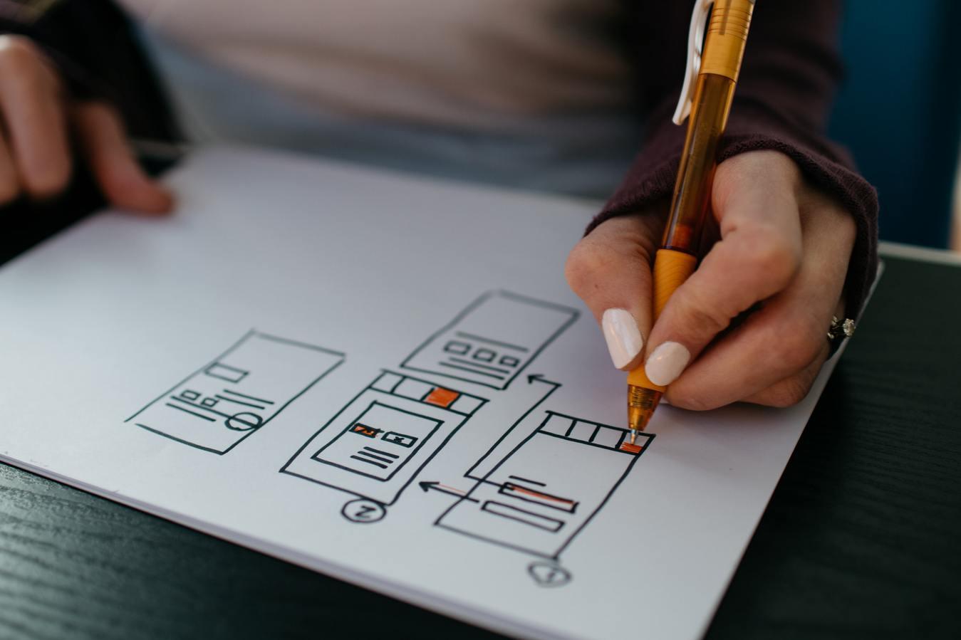 Mano diseñando flujos de sitios web