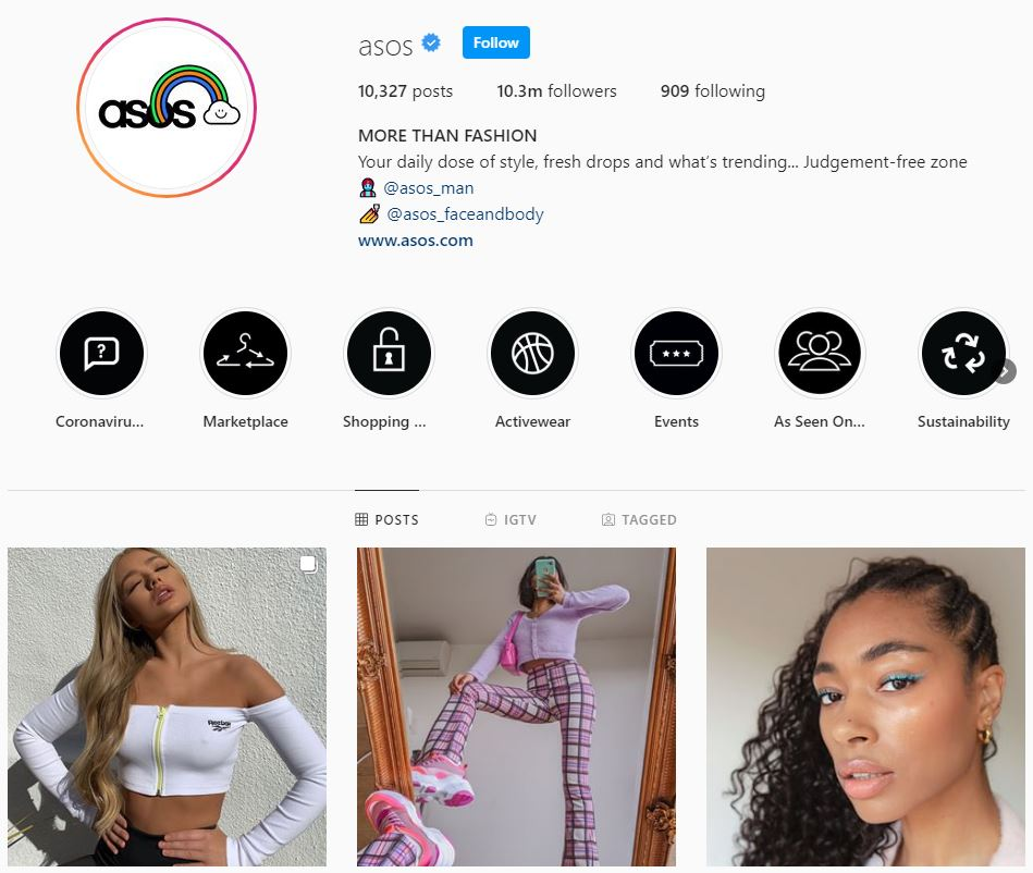 Instagram dla firm. Firmowy profil Asos na Instagramie.