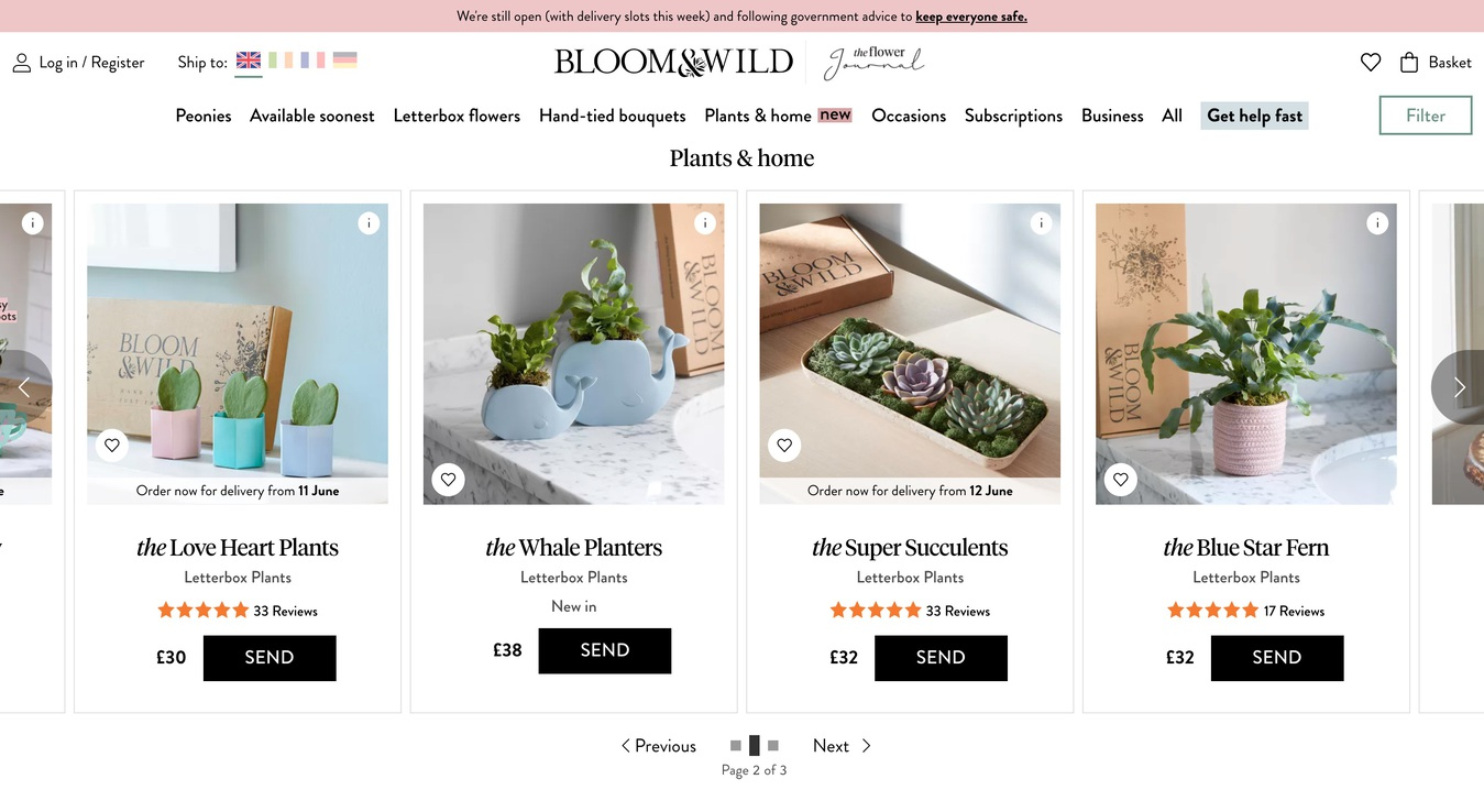 Bloom&Wild Flower Delivery Shop Screenshot