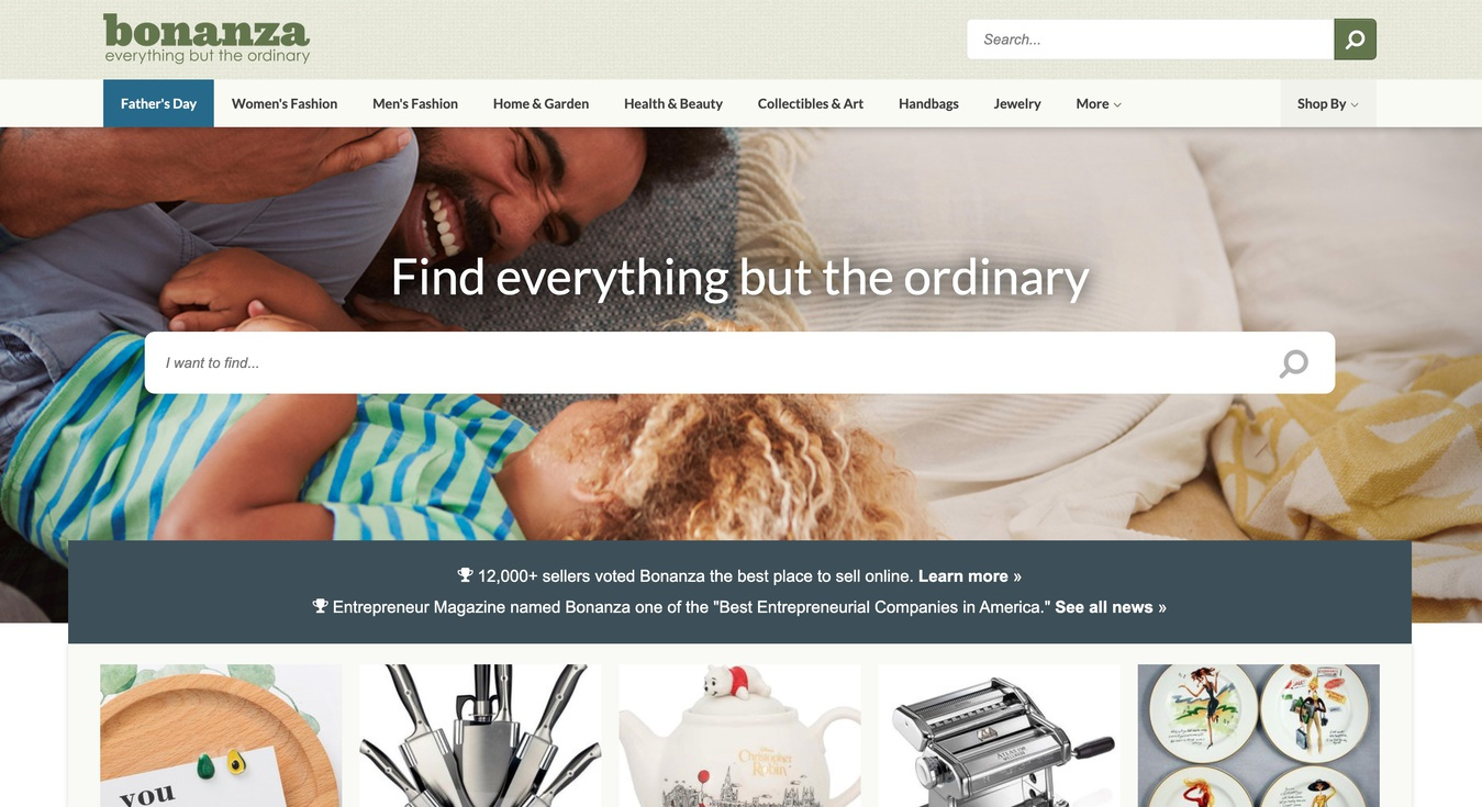 Bonanza Marketplace Home Website Screenshot