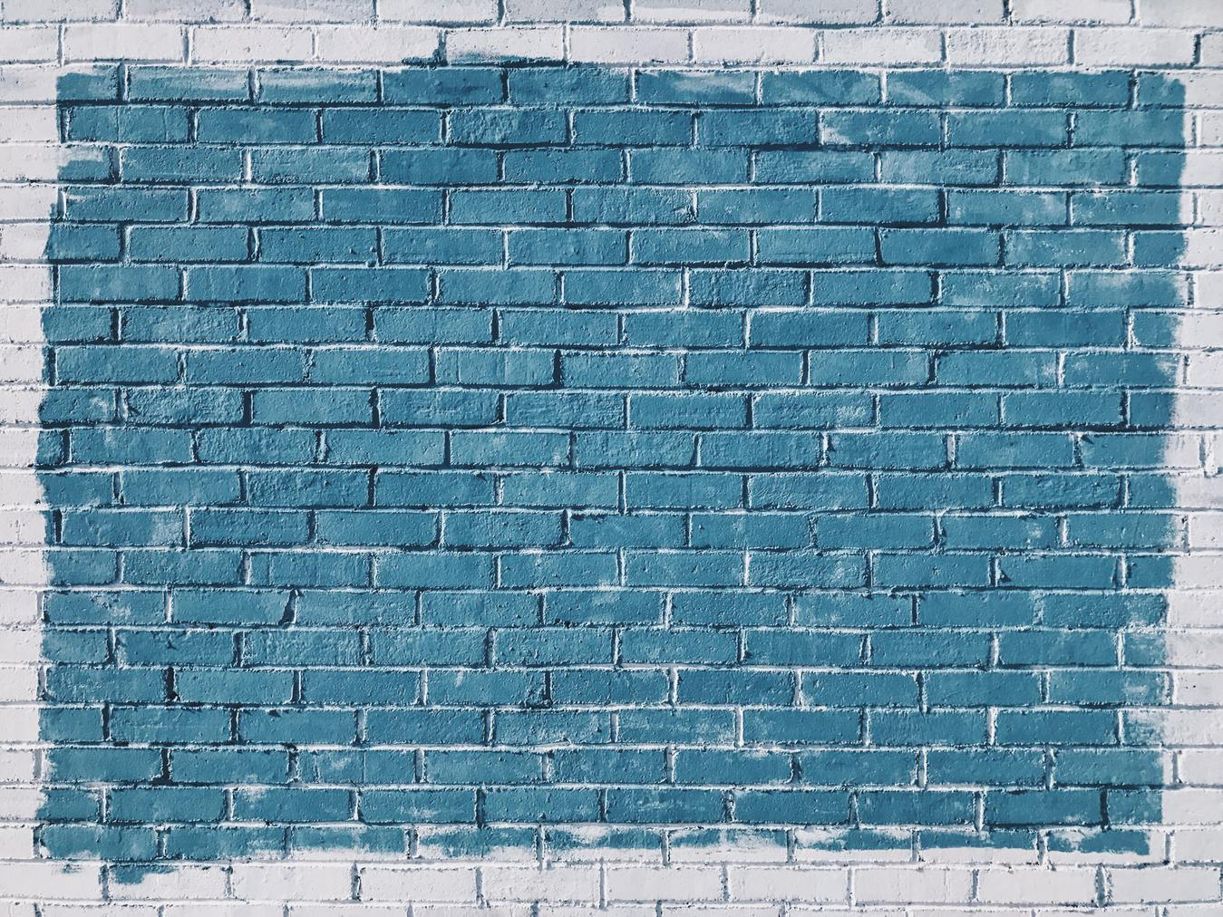 Brick Wall White Border and Blue Inside