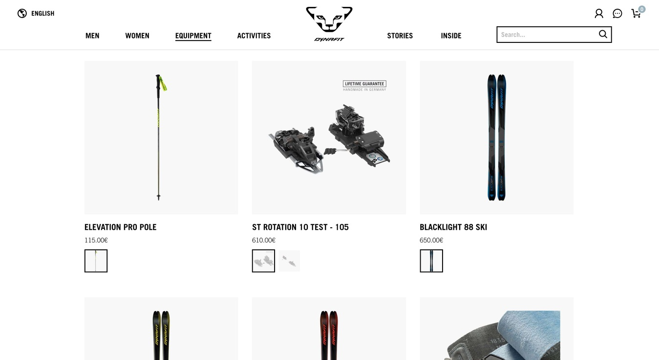Dynafit Online Store Sport Gear Screenshot