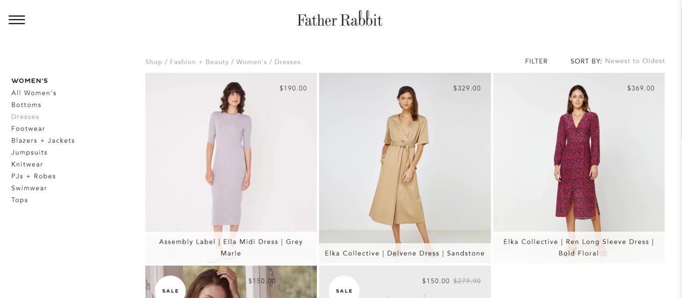 Father Rabbit shop pages