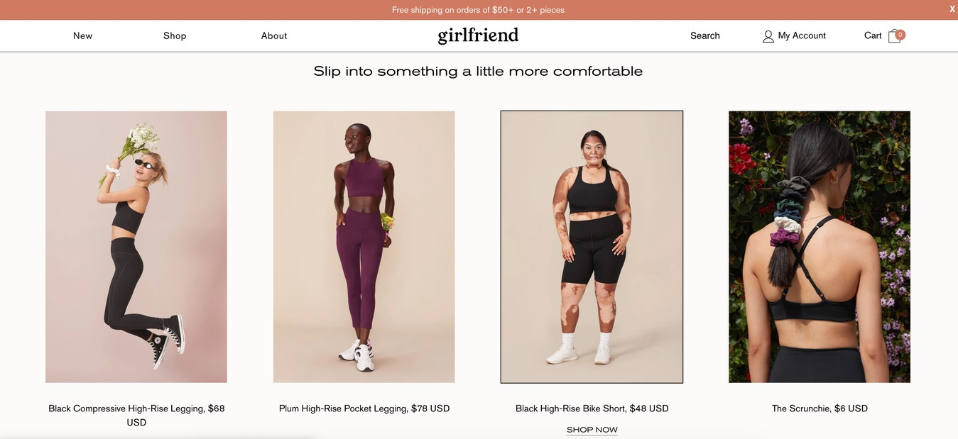Girlfriend Collective eCommerce module online store products