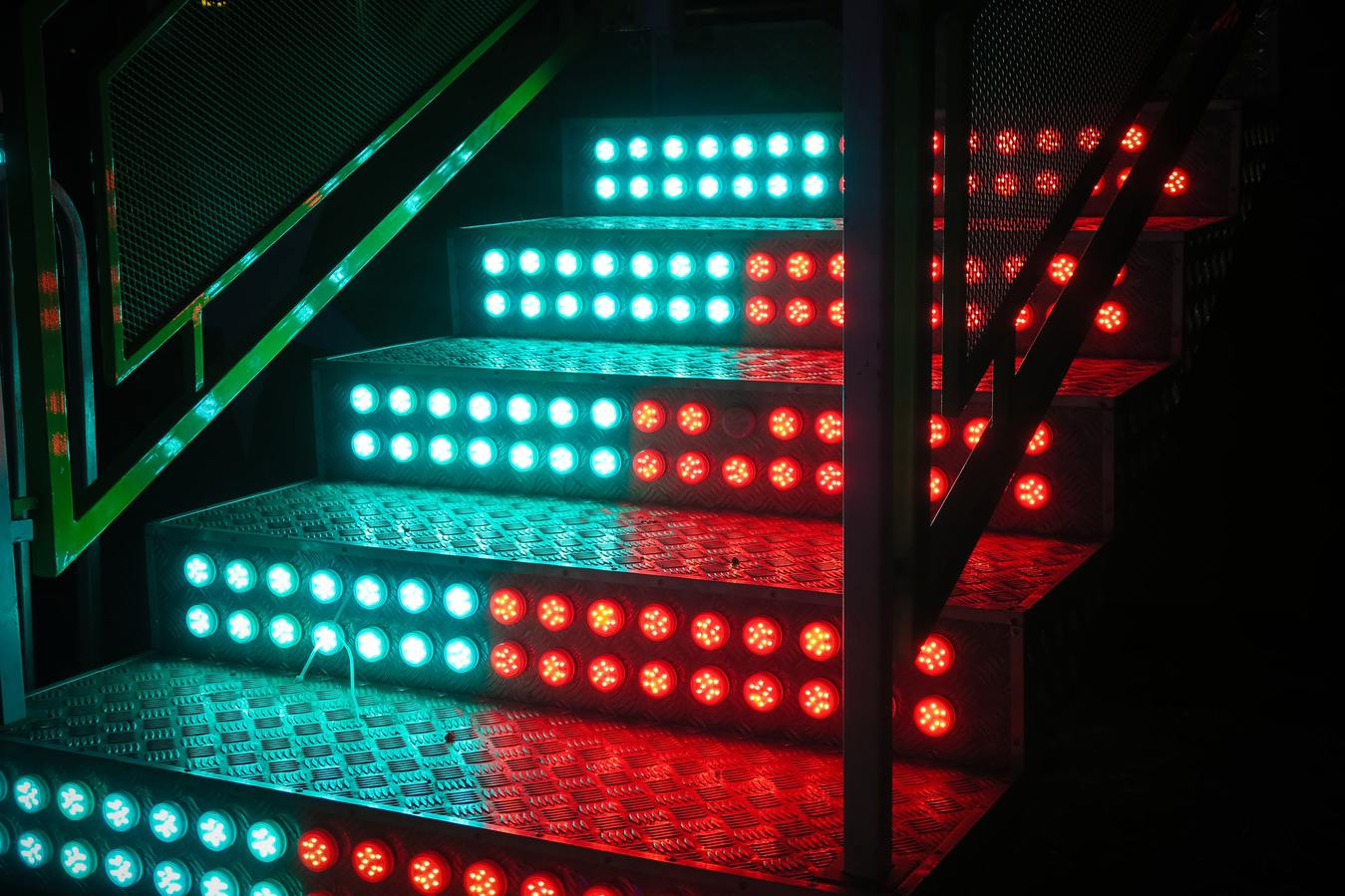 LED Lit Stairs Half Blue and Red