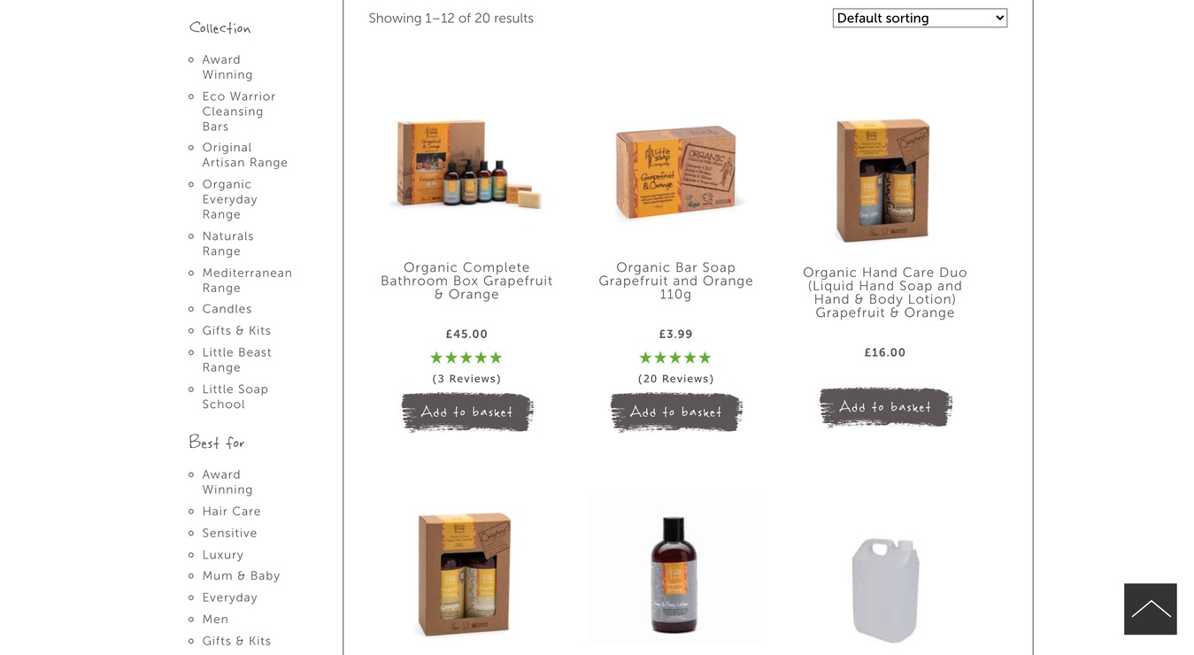 Little Soap Company Product Page Screenshot