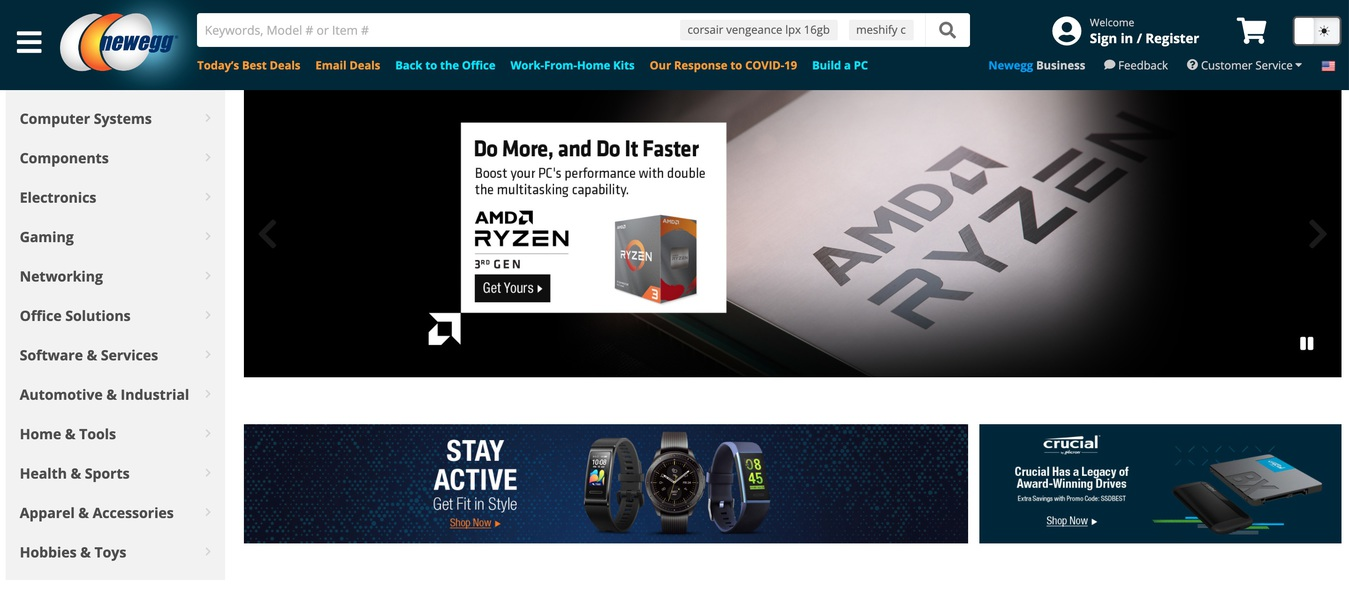 Newegg Marketplace Website Home Screenshot