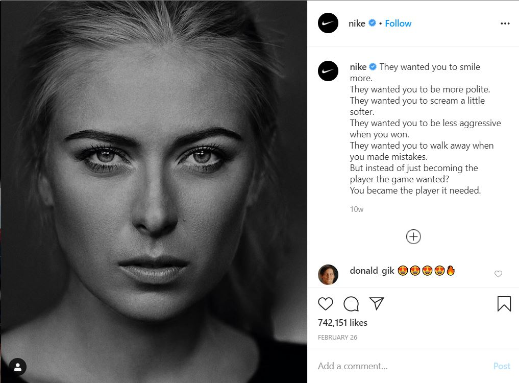 Post na Instagramie Nike