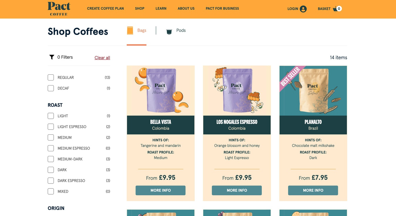 ecommerce website Pact Coffee
